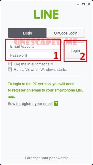 Tampilan awal aplikasi LINE di PC